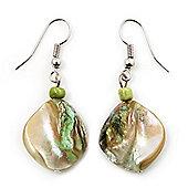 Lime Green Shell Bead Drop Earrings (Silver Tone)