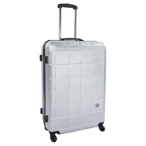 Beverly Hills Polo Club 4-Wheel Hard Shell Suitcase, Silver Square Print Large