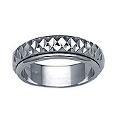 Bespoke Hand-Made 18 carat White Gold 6mm Two Piece Wedding Ring with Spinning Center Band.
