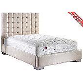ValuFurniture Coppella Chenille Fabric Divan Bed Frame - Cream - Single - 3ft