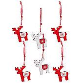 Pack of Six Wooden Scandinavian Reindeer Hanging Christmas Tree Decorations