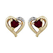 Gemondo 9ct Yellow Gold Garnet & Diamond Earrings