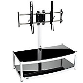 Atacama Cantilever 2 Shelf TV Stand - White and Black