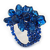Midnight Blue Semiprecious Chip Cluster Flex Ring