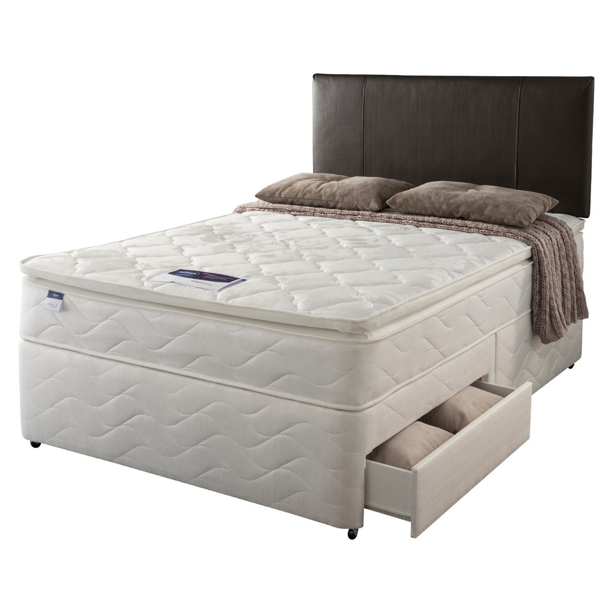 Silentnight Miracoil Pillowtop Fiji King 4 Drawer Divan set at Tesco Direct