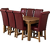 Bordeaux Rustic Solid Oak 180 cm Dining Table with 8 washington Chairs (Burgundy)