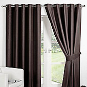 Dreamscene Ring Top Lined Pair Eyelet Thermal Blackout Curtains - Chocolate - Chocolate