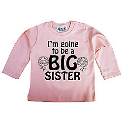 Dirty Fingers I'm going to be a BIG Sister LS T-shirt 18-24m Pale Pink