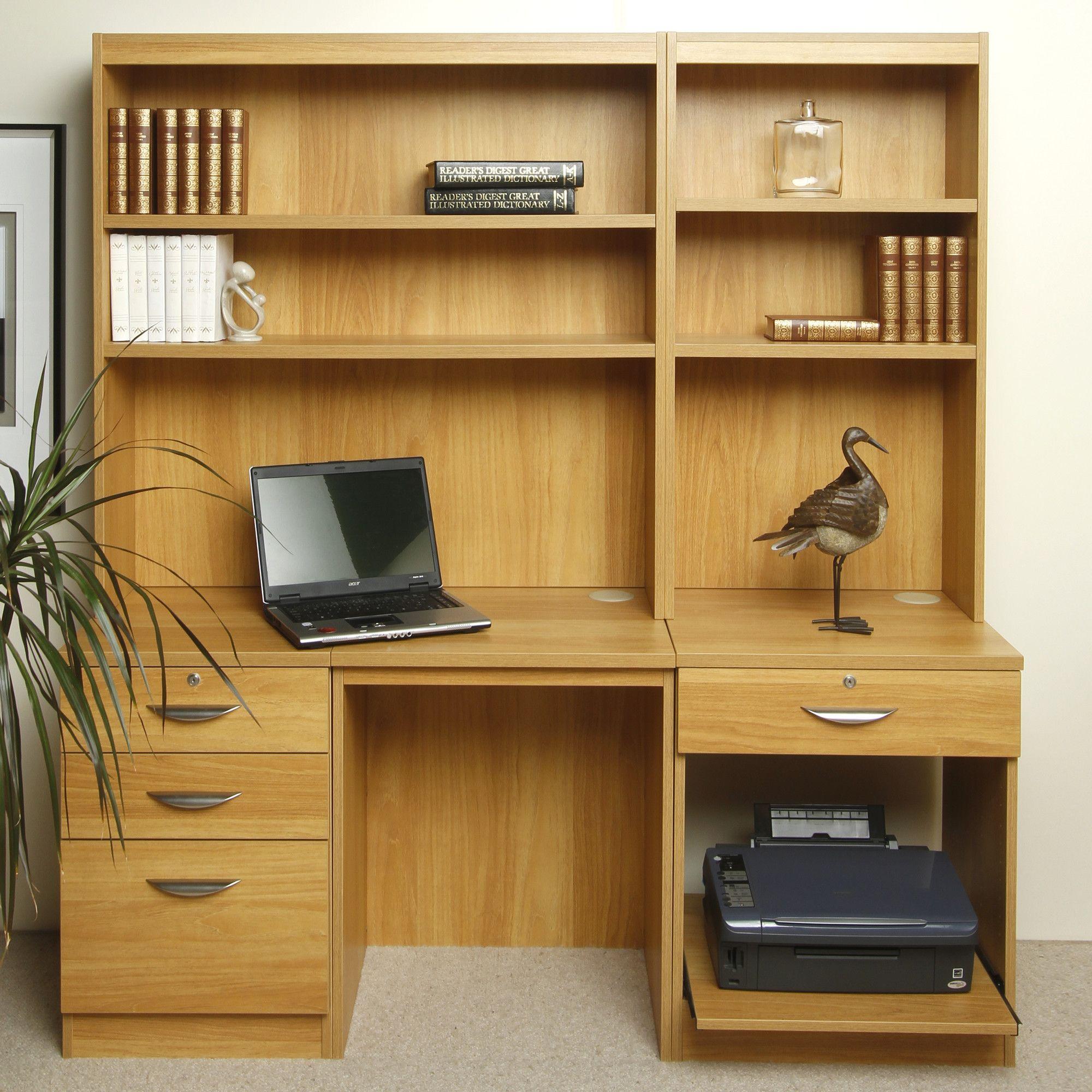 Enduro Home Office Desk / Workstation with Pedestal, Printer Storage and Inbuilt Bookshelves - Teak at Tescos Direct