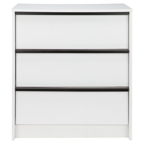 Trenton 3 Drawer Chest, White/Black