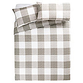 Tesco Basic Check Print Duvet Set KS Grey