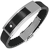 Urban Male Modern Bangle In Stainless Steel & Black Rubber with CZ