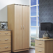 Welcome Furniture Avon Plain Midi Wardrobe - Beech - 127cm H x 77cm W