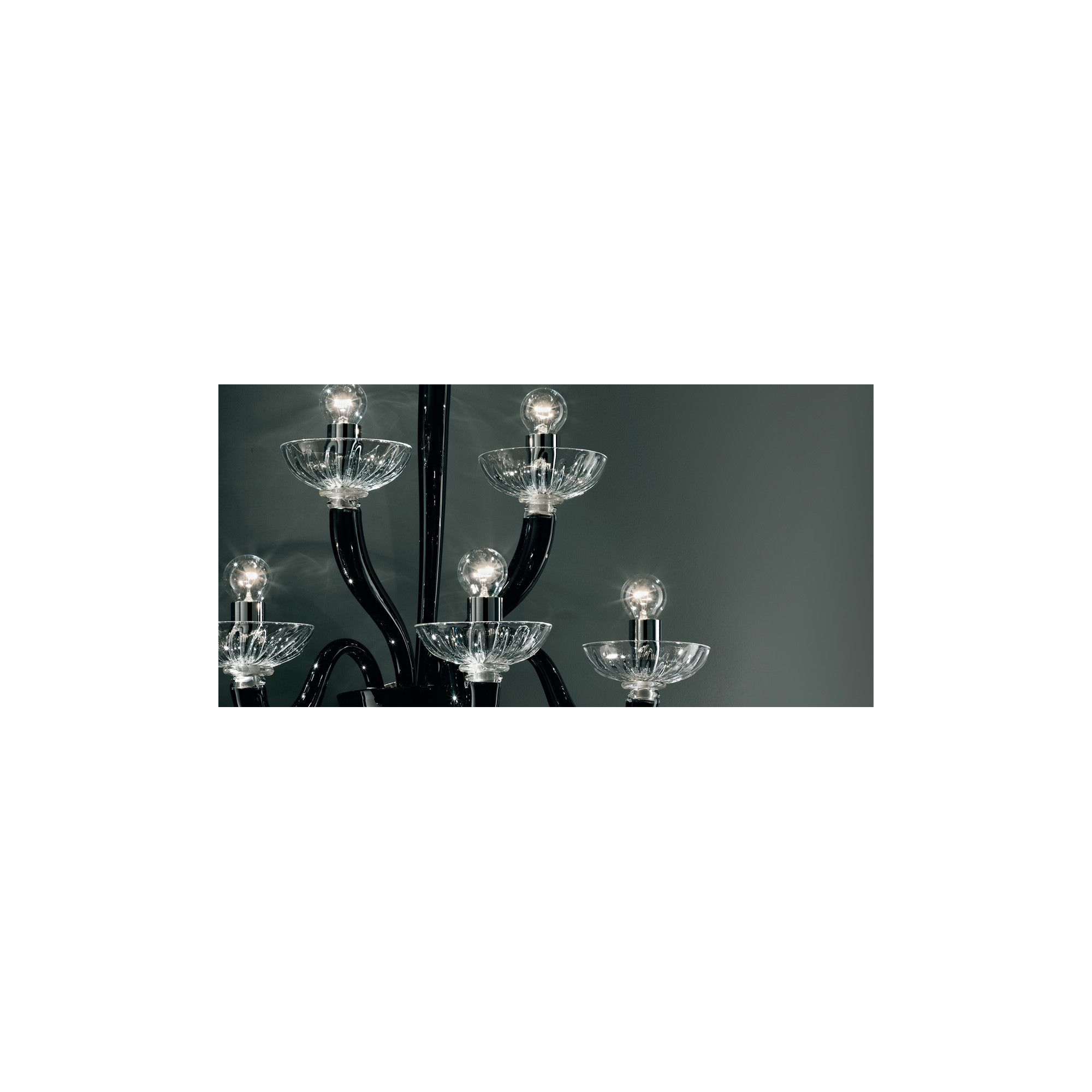 De Majo 8000 Six Light Wall Lamp - Black And Clear Glass