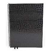 Silvine Twin Wire Crocodile Skin Notebook A4 Black PMA4BK