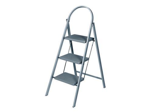 Abru 12733 Stepstool Metallic Grey 3 Tread