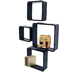 Cube - Wall Display / Storage Cube Shelves - Set Of Four - Black