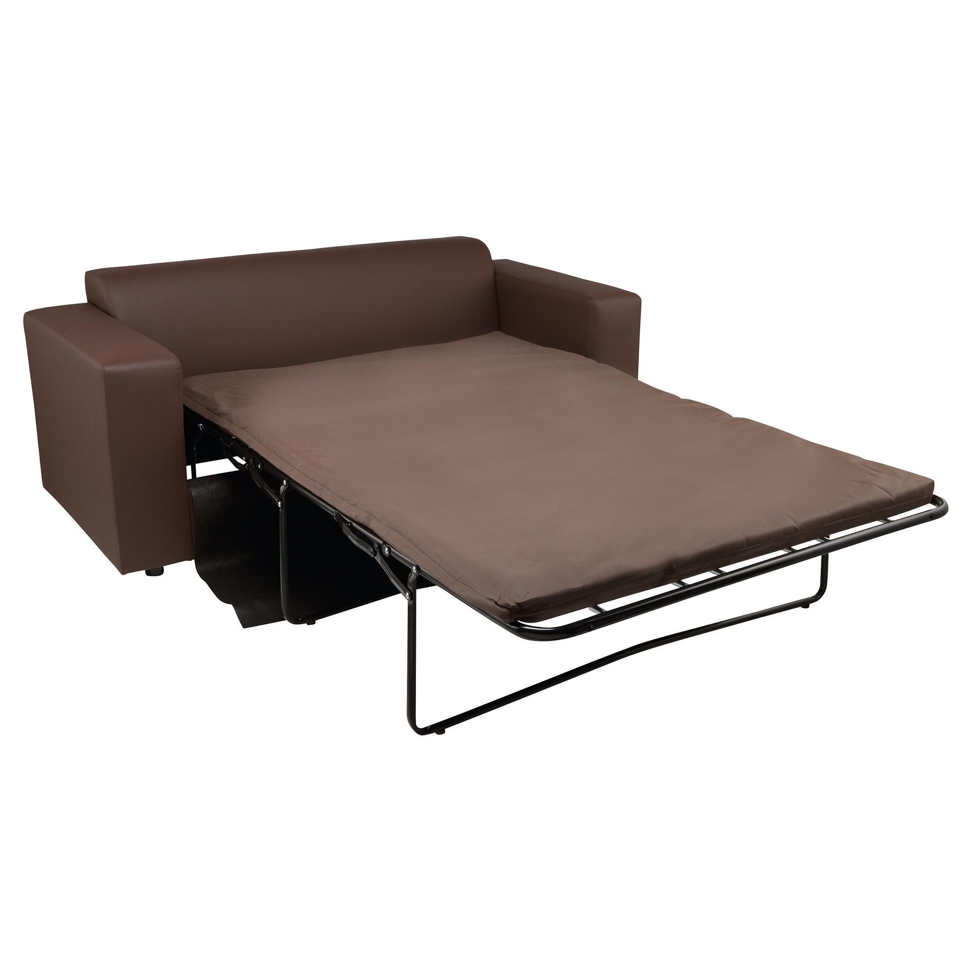 Stanza Leather Effect Sofabed Chocolate at Tesco Direct