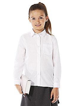 F&F School 2 Pack of Girls Non-Iron Long Sleeve School Shirts - White