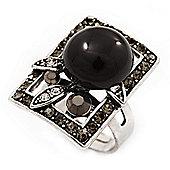 Square Diamante Fancy Ring In Burn Silver Metal