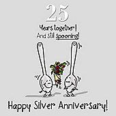 25th Wedding Anniversary Greetings Card - Silver Anniversary