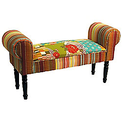 Patchwork - Shabby Chic Chaise Pouffe Stool /wood Legs - Multi-coloured