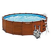"Intex Sequoia Spirit Wood grain Metal Frame Round Pool 15ft 8"" x 49"" - 28382"