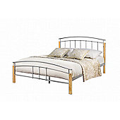 Tetras 135cm 4'6 double beach posts and silver metal bed frame