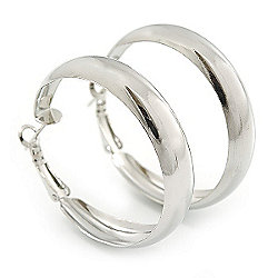 Small Polished Silver Plated Hoop Earrings - 4cm Diameter