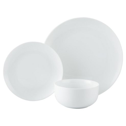 Tesco Super White Porcelain 12 Piece, 4 Person Dinner Set
