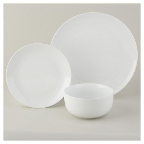 Tesco Super White Porcelain 12 Piece, 4 Person Dinner Set