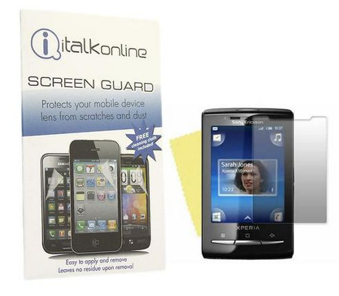 iTALKonline S-Protect LCD Screen Protector and Cleaning Cloth - For  Sony Ericsson X10 Mini
