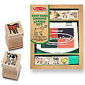 Wooden Baby Farm Animal Stamp Set - Melissa & Doug