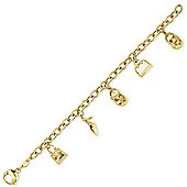 Jewelco London 9ct Yellow Gold - Handbags and Shoes' Charm Bracelet
