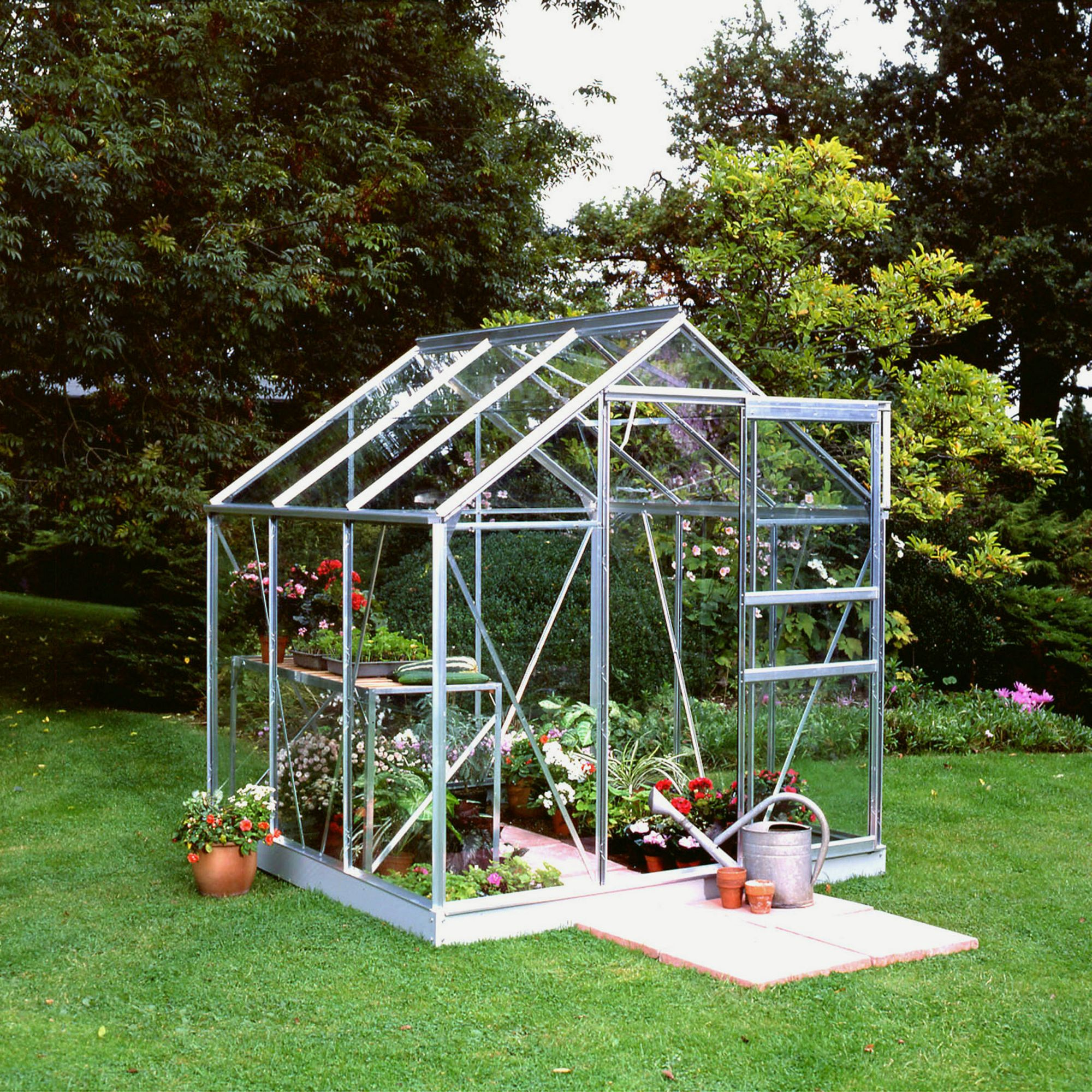 Halls 6X6 Popular Aluminium Greenhouse + Base - Horticultural Glass at Tesco Direct