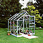 Halls 6X6 Popular Aluminium Greenhouse + Base - Horticultural Glass