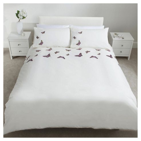 buy tesco embroidered butterflies duvet set db from our. Black Bedroom Furniture Sets. Home Design Ideas
