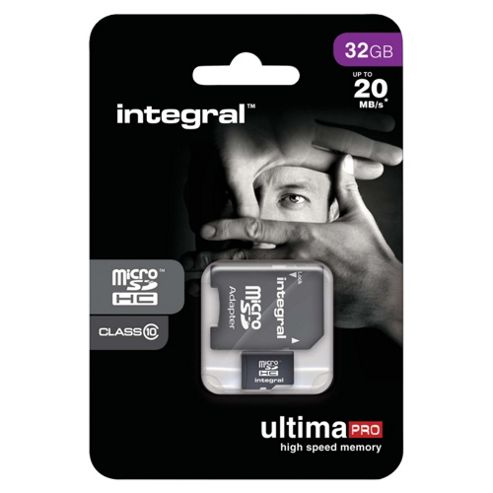 Integral microSDHC 32GB Class 10 Card + SD Adapter