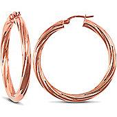 9ct Rose Gold Twisted Hoop Earrings