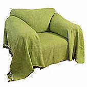 Homescapes Nirvana Slub Cotton Lime Green Throw, 225 x 255 cm