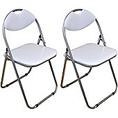 Harbour Housewares White Padded, Folding, Desk Chair - Pack of 2