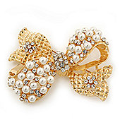 Gold Plated White Simulated Pearl Diamante 'Bow' Brooch - 5cm Length