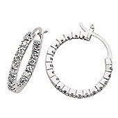 Jewelco London Rhodium-Coated Sterling Silver CZ Hoop Earrings