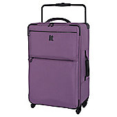 IT Luggage World's Lightest 4-Wheel Purple Check Medium Suitcase