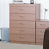 Alto Furniture Mode Beech Five Drawer Chest
