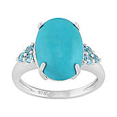 Gemondo Sterling Silver 4.35ct Cabochon Cut Turquoise & Blue Topaz Cocktail Ring