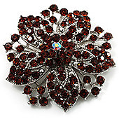 Victorian Corsage Flower Brooch (Silver&Amber)