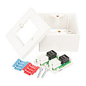 Twin CAT5E RJ45 Outlet Kit - White