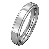 Jewelco London 18ct White Gold - 4mm Premium Flat Court Step Cut Band Commitment / Wedding Ring -