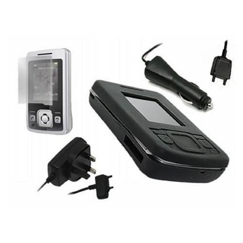 iTALKonline Black Silicone Case, Screen Protector, Car Charger and Mains Charger - For Sony Ericsson T303